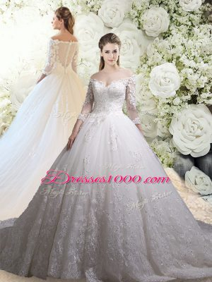 Chic 3 4 Length Sleeve Chapel Train Zipper Lace Bridal Gown
