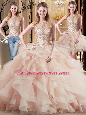 Best Peach Tulle Lace Up Scoop Sleeveless Quinceanera Gowns Brush Train Beading and Ruffles