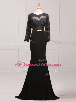 Graceful Black Side Zipper Scoop Lace and Appliques and Belt Mother of Groom Dress Chiffon Long Sleeves Brush Train