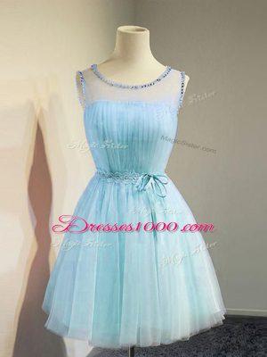 Hot Sale Aqua Blue Empire Scoop Sleeveless Tulle Knee Length Lace Up Belt Bridesmaid Dress