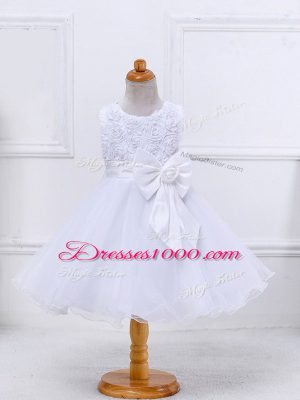 Sophisticated Scoop Sleeveless Zipper Flower Girl Dresses White Organza