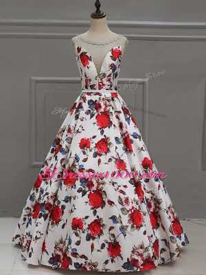 Fantastic Floor Length Multi-color Prom Dress Printed Sleeveless Pattern
