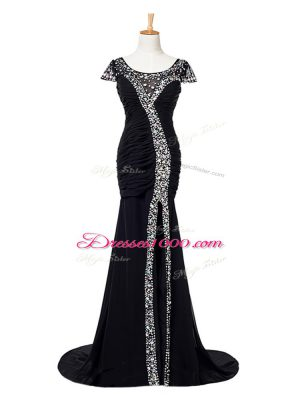 Shining Black Elastic Woven Satin Zipper Scoop Cap Sleeves Prom Evening Gown Brush Train Beading and Ruching