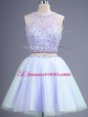 New Style Lavender Sleeveless Knee Length Beading Lace Up Dama Dress for Quinceanera