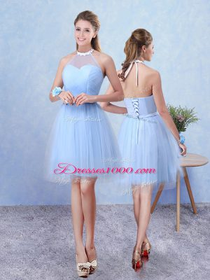 Traditional Blue Sleeveless Ruching Knee Length Bridesmaids Dress