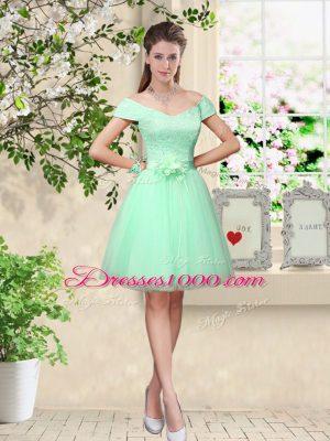 Cheap Apple Green V-neck Neckline Belt Bridesmaids Dress Cap Sleeves Lace Up