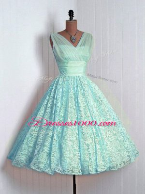 Gorgeous Lace Sleeveless Mini Length Damas Dress and Lace
