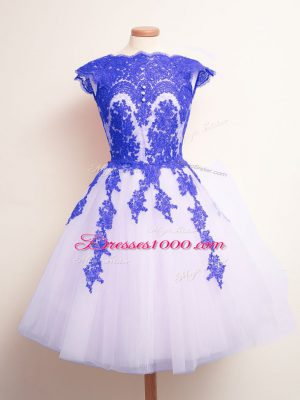 Blue And White A-line Appliques Bridesmaids Dress Lace Up Tulle Sleeveless Mini Length