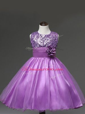 Spectacular Sleeveless Zipper Knee Length Sequins and Hand Made Flower Flower Girl Dresses for Less