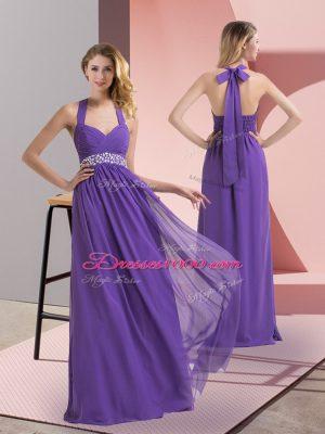 Floor Length Purple Chiffon Sleeveless Beading and Ruching
