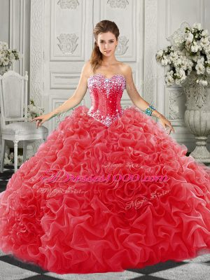 Court Train Ball Gowns Quinceanera Dresses Red Sweetheart Organza Sleeveless Lace Up