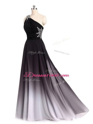 Sleeveless Brush Train Lace Up Beading and Ruching Homecoming Dress