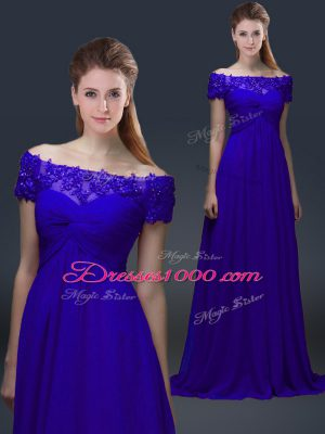 Custom Made Short Sleeves Chiffon Knee Length Lace Up Mother of Bride Dresses in Blue with Appliques