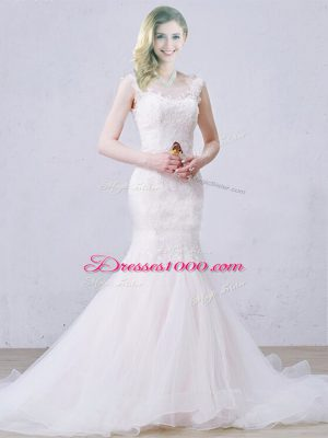 White Tulle Lace Up Scoop Sleeveless Wedding Gowns Brush Train Lace