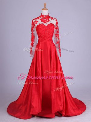 Pretty Lace and Appliques Mother of the Bride Dress Red Zipper Long Sleeves Brush Train