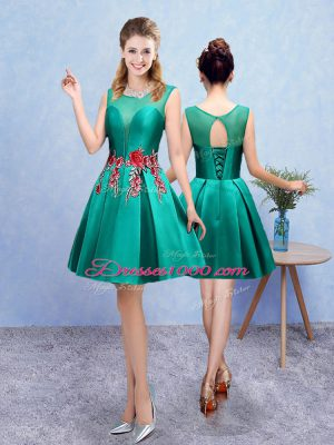Knee Length Lace Up Dama Dress for Quinceanera Turquoise for Prom and Party with Embroidery