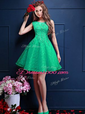 Excellent Knee Length Lace Up Wedding Guest Dresses Apple Green for Prom and Party with Lace and Appliques