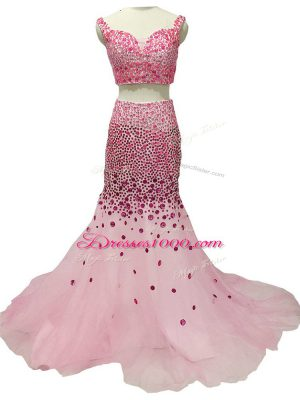 Brush Train Two Pieces Pageant Dress Toddler Baby Pink Straps Tulle Sleeveless Zipper