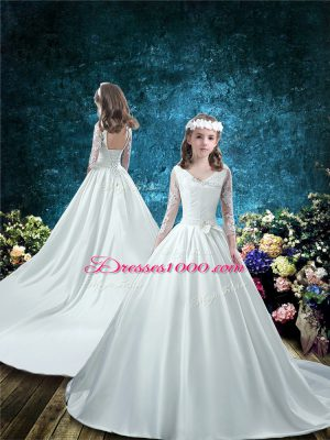 Custom Made White 3 4 Length Sleeve Court Train Lace and Bowknot Flower Girl Dresses