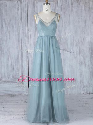 Empire Bridesmaid Dress Grey V-neck Tulle Sleeveless Floor Length Zipper