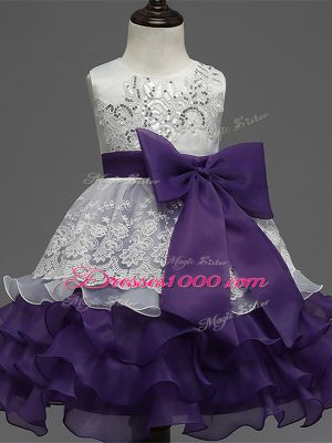 Stylish White And Purple Scoop Zipper Lace and Ruffled Layers and Bowknot Little Girls Pageant Gowns Sleeveless