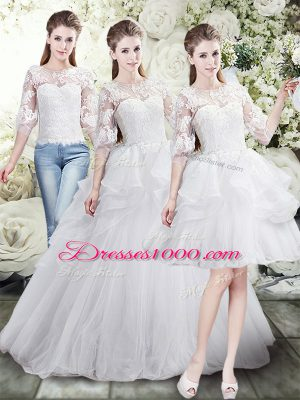 Spectacular White Lace Up Scoop Lace and Ruffles Wedding Gown Tulle Half Sleeves Brush Train
