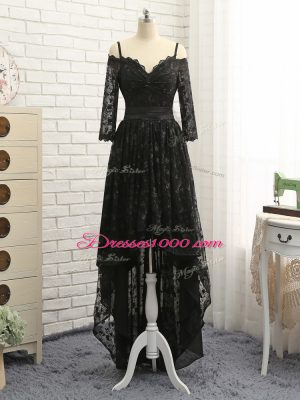 Off The Shoulder Half Sleeves Homecoming Dress High Low Lace Black Lace