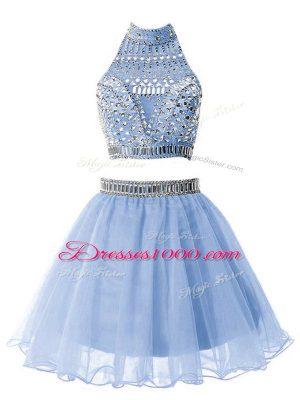 Stylish High-neck Sleeveless Wedding Party Dress Knee Length Beading Light Blue Organza