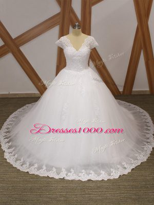 White Wedding Dresses Tulle Chapel Train Short Sleeves Beading and Lace and Appliques