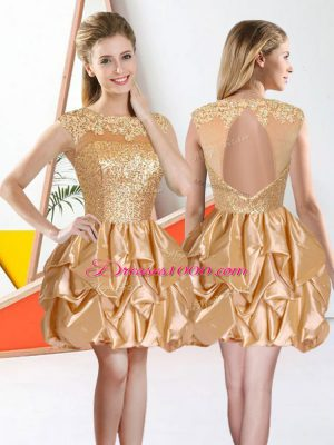 New Arrival Knee Length Backless Quinceanera Court of Honor Dress Champagne for Prom and Party with Beading and Lace and Ruffles