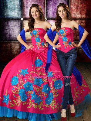 Hot Pink Quinceanera Gown Military Ball and Sweet 16 and Quinceanera with Embroidery Strapless Sleeveless Lace Up