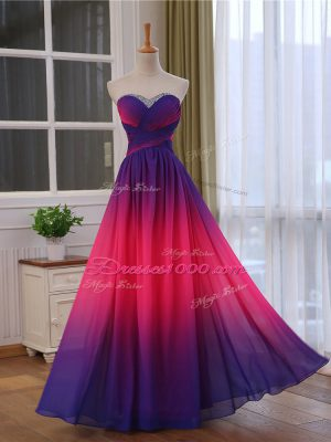 Customized Multi-color Chiffon and Printed Lace Up Sweetheart Sleeveless Floor Length Prom Evening Gown Beading and Ruching