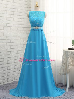 Exceptional Zipper Vestidos de Damas Baby Blue for Prom and Party with Beading and Lace Brush Train