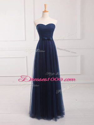 Floor Length Empire Sleeveless Navy Blue Bridesmaid Dresses Lace Up