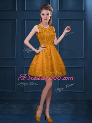 Hot Selling Gold Scoop Neckline Lace and Ruffled Layers Wedding Guest Dresses Sleeveless Zipper