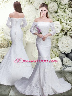 White Off The Shoulder Neckline Lace Wedding Gowns 3 4 Length Sleeve Lace Up
