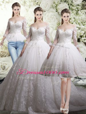 Free and Easy Chapel Train Three Pieces Wedding Dress White Off The Shoulder Tulle 3 4 Length Sleeve Zipper