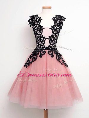 High Quality A-line Wedding Party Dress Pink Straps Tulle Sleeveless Knee Length Lace Up