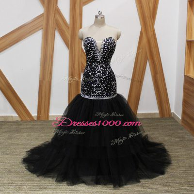 Graceful Sleeveless Tulle Brush Train Lace Up in Black with Beading