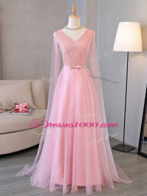 Baby Pink V-neck Neckline Beading Prom Dress Long Sleeves Lace Up