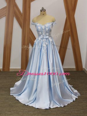 Sleeveless Elastic Woven Satin Floor Length Lace Up Evening Dress in Light Blue with Appliques and Belt