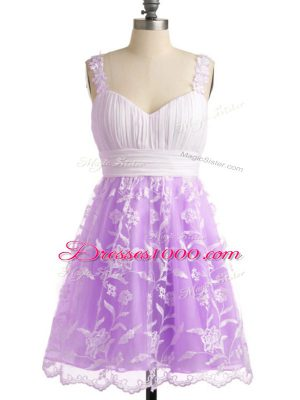 Sleeveless Lace Knee Length Lace Up Wedding Guest Dresses in Lilac with Lace