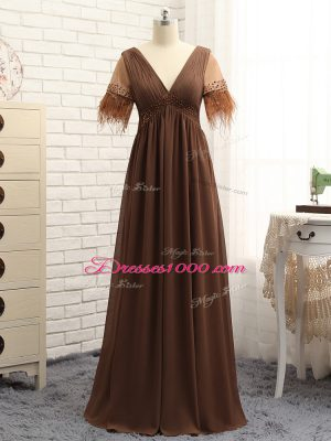 Sleeveless Floor Length Beading and Ruching Zipper Mother of the Bride Dress with Brown