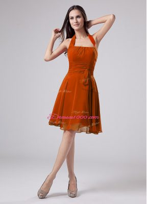 Orange Halter Top Neckline Ruching Mother of Groom Dress Sleeveless Zipper