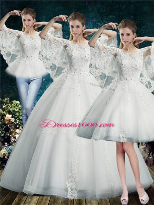 Exceptional White Tulle Lace Up Scoop Half Sleeves Floor Length Bridal Gown Lace