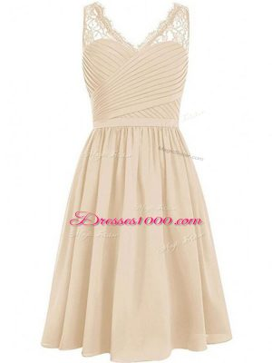 Wonderful Champagne Chiffon Side Zipper Bridesmaid Dress Sleeveless Knee Length Lace and Ruching