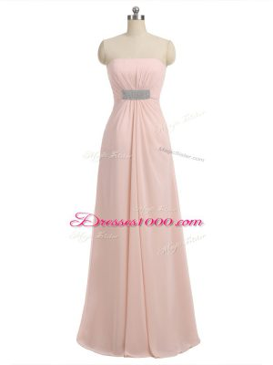 Eye-catching Chiffon Sleeveless Floor Length Quinceanera Dama Dress and Beading
