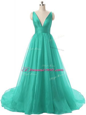 A-line Sleeveless Turquoise Prom Gown Brush Train Backless