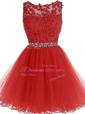 Adorable Sleeveless Beading and Lace and Appliques Zipper Dress for Prom