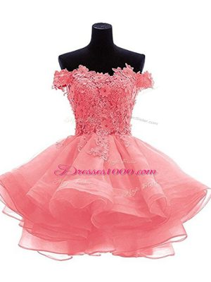 New Style Watermelon Red A-line Off The Shoulder Sleeveless Organza Mini Length Zipper Beading and Lace and Appliques Prom Dress
